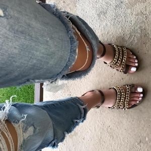 Black Velvety Sandals